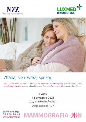 Mammografia 14 stycznia 2021 r. Tychy Al. Bielska Auchan